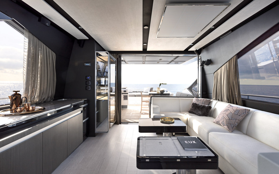 Innovative decor and rich materials, unusual for a sports yacht.